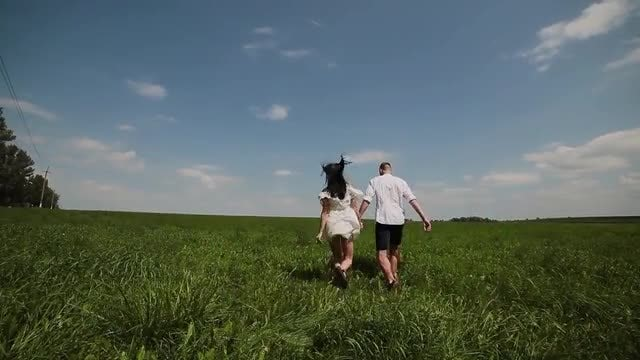 Lovers Walk In A Field: Stock Video