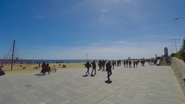Crowded Pathway By The Beach: Stock Video