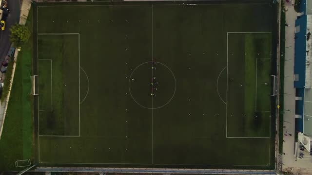 Soccer Game Top View 4K: Stock Video