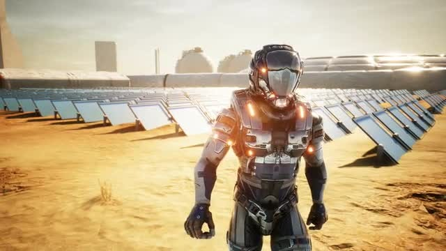 Astronaut On Mars Inspecting Panels: Stock Motion Graphics