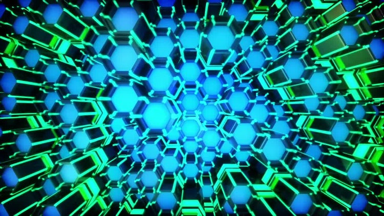 Neon Hexagon Moving Grid Loop: Stock Motion Graphics