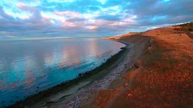 Aerial Shot Of Desert Coast: Stock Video