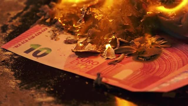 Pile Of Euro Banknotes Burning: Stock Video