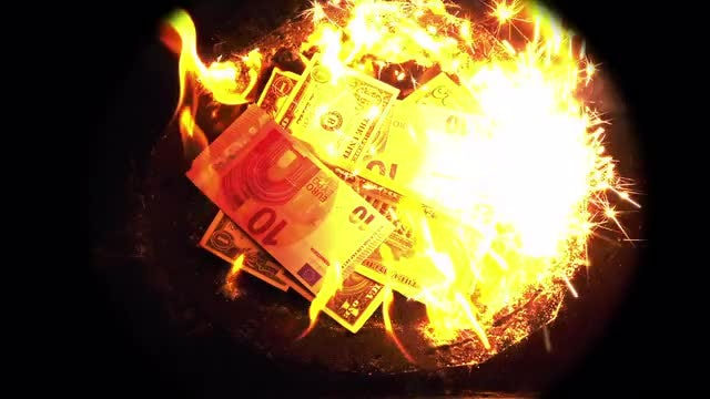 Hoard Of Banknotes Burning: Stock Video
