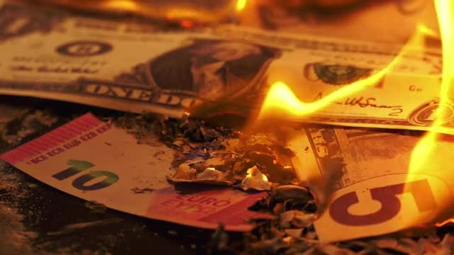 Yellow Flames Consume Banknotes: Stock Video