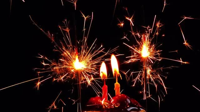 Lit Candles And Sparklers: Stock Video