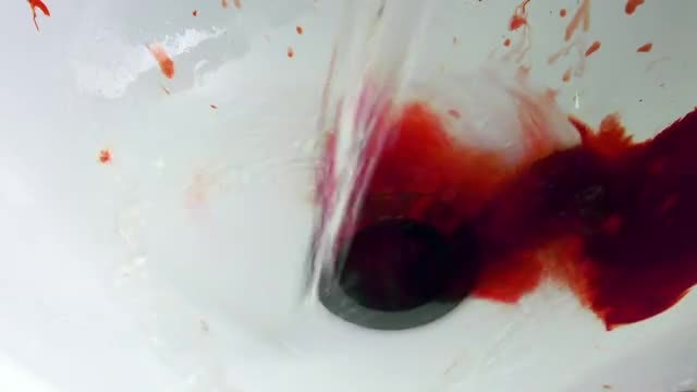 Blood And Water In Sink: Stock Video
