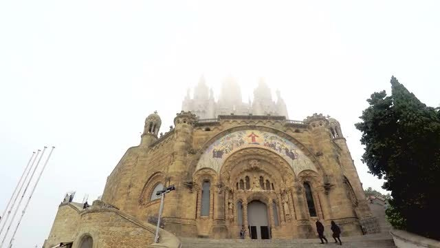 Cathedral On Top Of Mountain: Stock Video