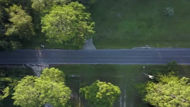 Aerial Shot Of Empty Road: Stock Video
