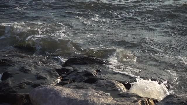 Waves Flow Over Shore Rocks: Stock Video