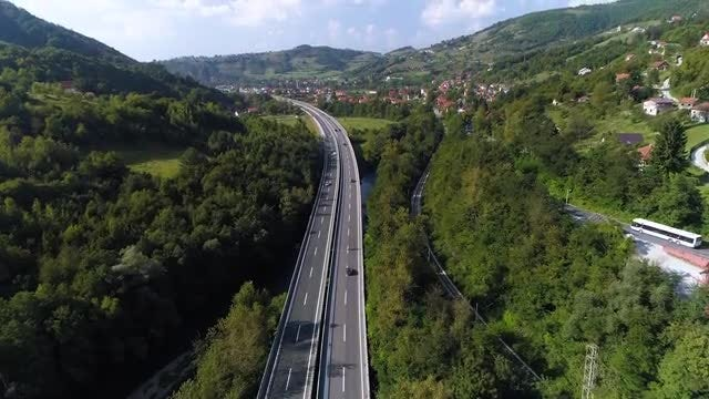 Aerial Shot Of A Highway: Stock Video