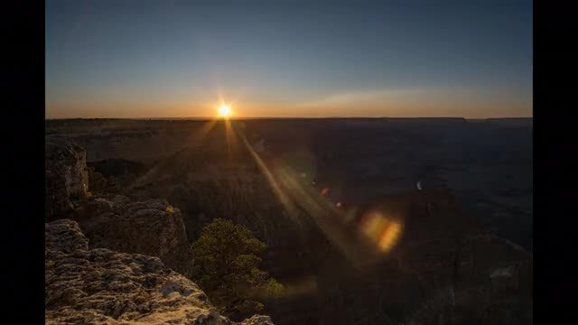 Sunset Over Grand Canyon Ridge: Stock Video