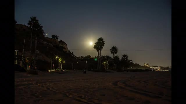 Moon Moving Over Miami Beach: Stock Video