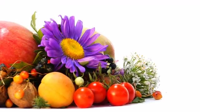Fruits And Flowers On Display: Stock Video