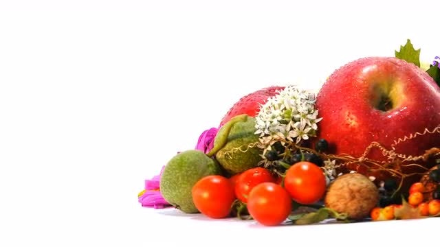 Close-up Of Flowers And Fruits: Stock Video