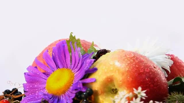 Fresh Fruits And Flowers Spinning: Stock Video
