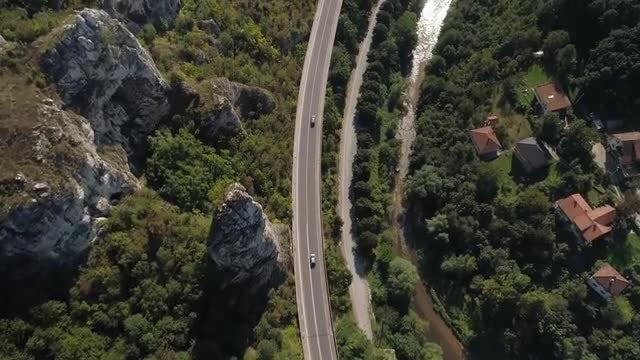 Aerial Shot Of Miljacka canyon: Stock Video