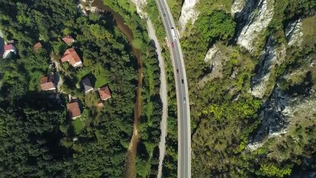 Revealing Shot Of Rural Town: Stock Video