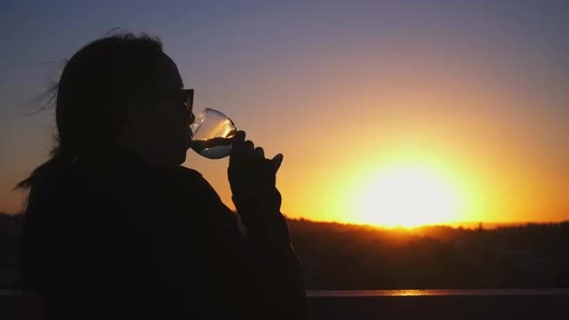 Drinking Wine While Watching Sunset: Stock Video