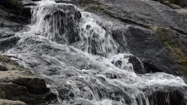 Autumn Spring Water On Rocks: Stock Video