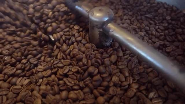 Coffee Roasting Machine and Coffee Beans: Stock Video
