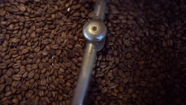 Coffee Roasting Machine Turns Beans: Stock Video
