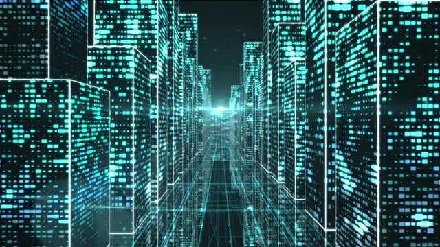 City In Digital Space: Stock Motion Graphics