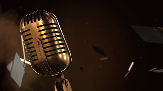 Cinematic Microphone And Clapboard: Stock Motion Graphics