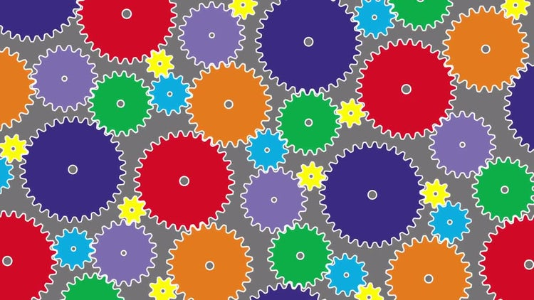 Colorful Gears Rotation: Stock Motion Graphics