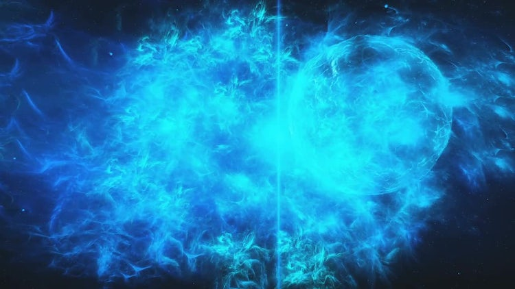 Blue Space Nebula With Planet: Stock Motion Graphics
