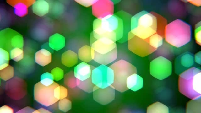 Green Hexagons Bokeh Background: Stock Motion Graphics