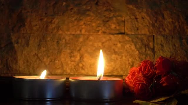 Burning Candles And Rose Flowers: Stock Video