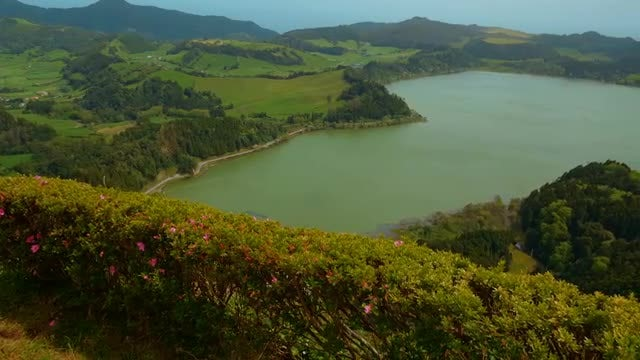 Panning Shot Of Furnas Lake: Stock Video