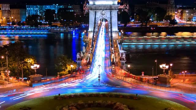 Time Lapse Of Chain Bridge: Stock Video