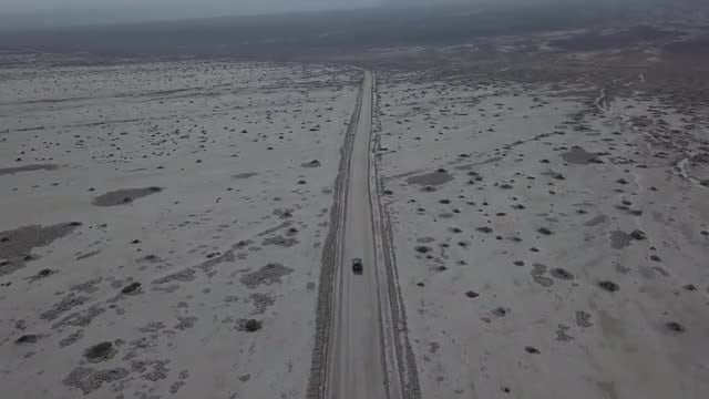 Aerial Shot Of Desert Road: Stock Video