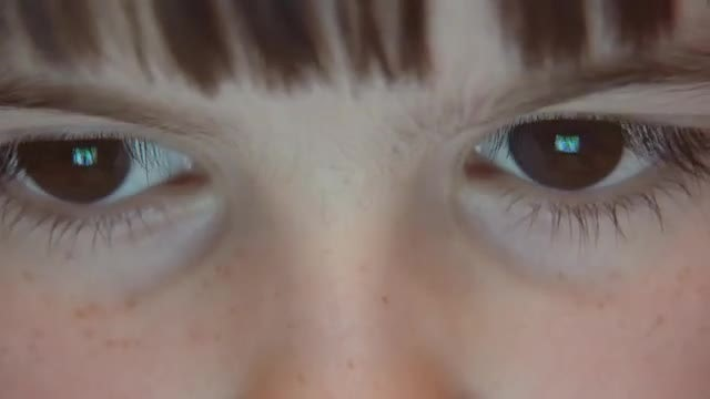 Close Up Kid's Eyes Browsing Tablet PC: Stock Video