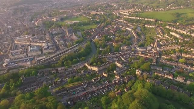 Aerial View of Bath City: Stock Video