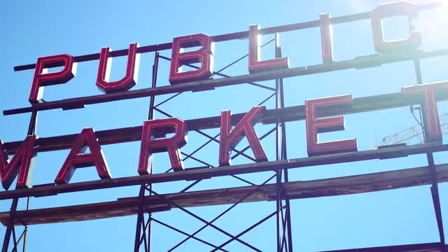Pike Place Market Sign: Stock Video
