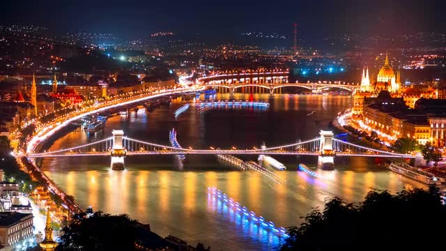 Night Time-lapse Of The Danube In Budapest: Stock Video