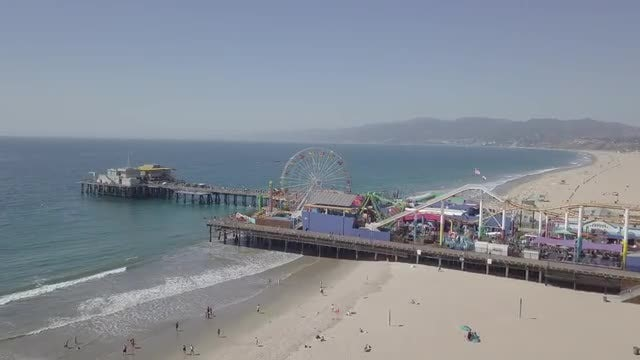 Flying Over Santa Monica Beach: Stock Video