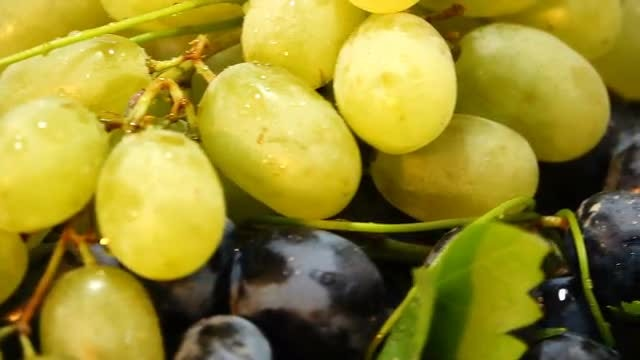 Black And White Grapes Rotating: Stock Video