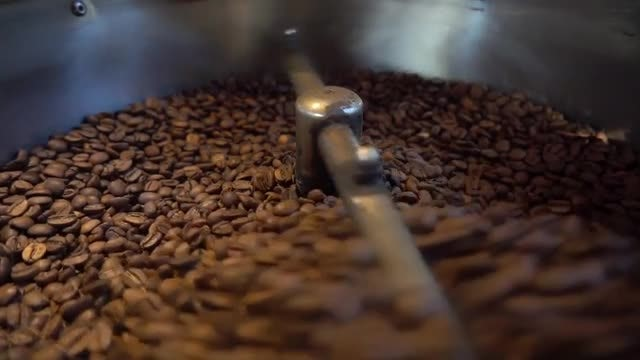 Closeup Shot Of Coffee Roasting: Stock Video