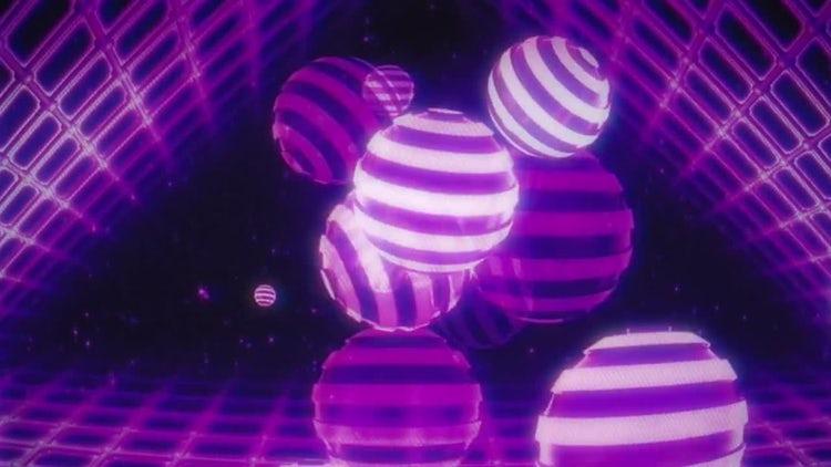 Striped Balls Retro VJ Loop: Stock Motion Graphics