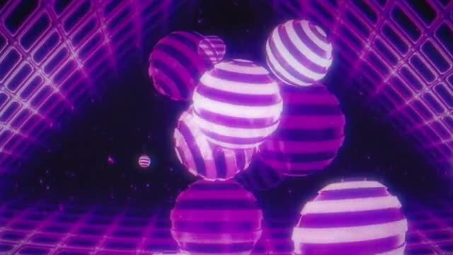 Striped Balls Retro VJ Loop: Stock Motion Graphics