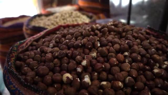 Hazelnuts  Falling Onto Pile: Stock Video