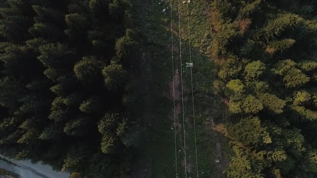 Aerial Shot Of Cable Car: Stock Video