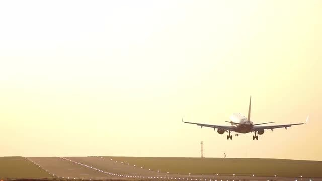 Airplane Landing At Sunset: Stock Video