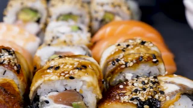 Sushi On Black Stone: Stock Video