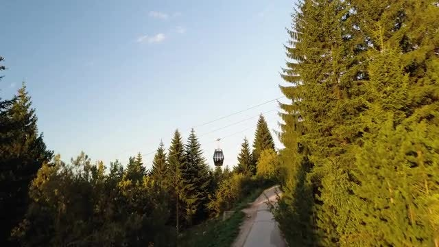 Cable Car Gliding Down 4K: Stock Video