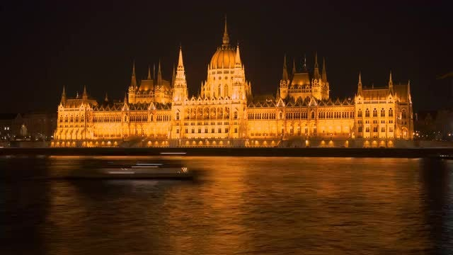 Hungarian Parliament Night Time Lapse: Stock Video